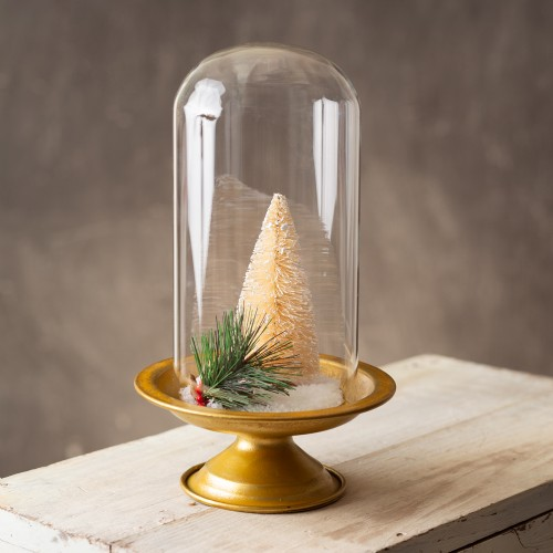 Gold Stand with Glass Cloche