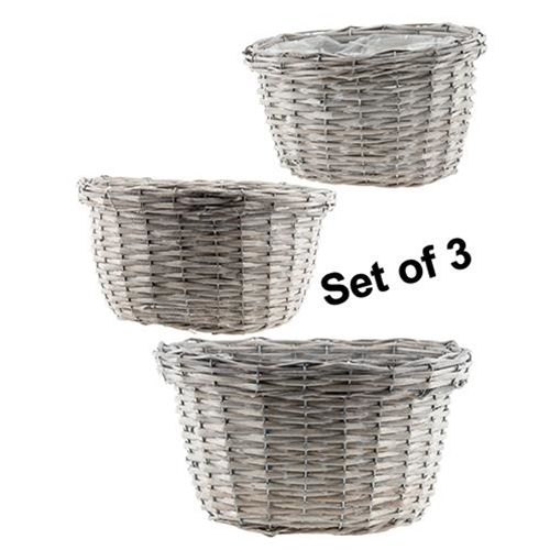 3/Set, Gray Willow Baskets