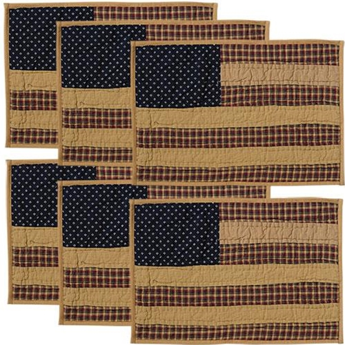 6/Set, Patriotic Patch Quilted Placemats, 12x18