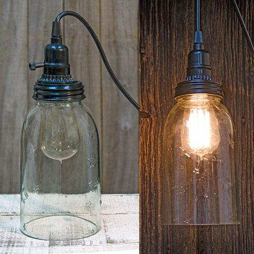 "8"" Mason Jar Lamp w/12 Ft. Adapter"