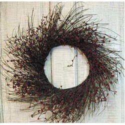 Burgundy Pip Twig Wreath, 16""