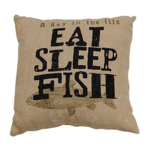 Eat, Sleep, Fish Pillow