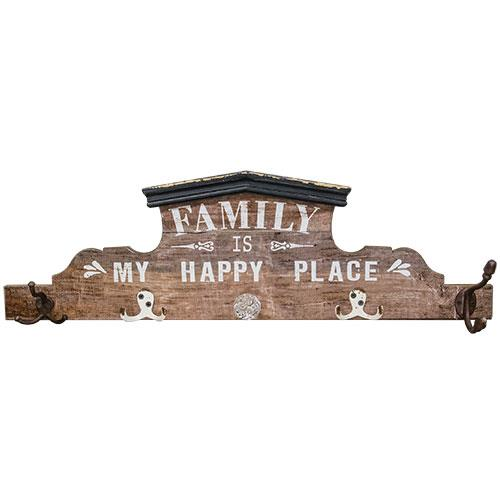 My Happy Place Sign w/Hooks