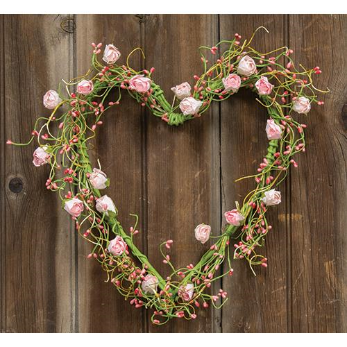 Pink Rosebuds Heart Wreath, 12""